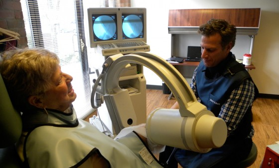As part of our knee injection joint therapy the fluoroscope ensures